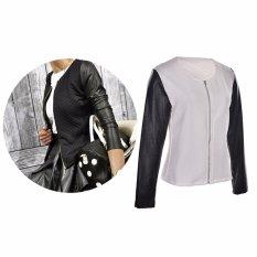 Wanita PU Kulit Casual Zip Lengan Panjang Parka Mantel Zipper Jaket Baseball-Intl