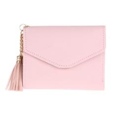 Wanita PU Kulit Pendek Lipat Dompet Rumbai Kartu Koin Kopling Dompet (Merah Muda)-Intl
