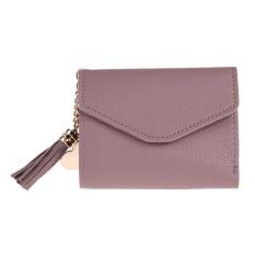 Dompet Cewek Lipat Pendek Dengan Tempat Kartu dan Koin Bahan Kulit PU Hias Rumbai (Merah)
