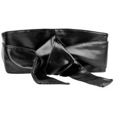 Women PU Leather Soft Self Tie Band Wrap Around Sash Obi Belt Corset Cinch Waist Belt Band Waistband Black - intl