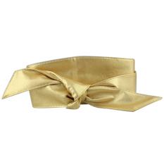 Wanita PU Kulit Lembut Self Tie Band Bungkus Sekitar Sash Obi Sabuk Korset Pinggang Belt Band Pinggang Golden- INTL