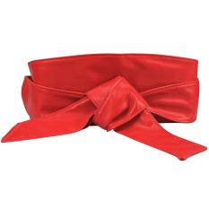 Lembut Wanita Kulit PU Diri Dasi Band Membungkus Sabuk Obi Sabuk Korset Menang Ikat Pinggang Merah-Internasional