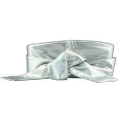 Wanita PU Kulit Lembut Self Tie Band Bungkus Sekitar Sash Obi Sabuk Korset Pinggang Belt Band Pinggang Perak- INTL