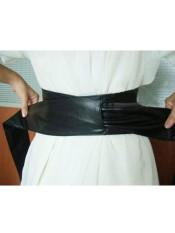 Wanita PU Kulit Lembut Diri Dasi Ikatan Simpul Tali Membungkus Selempang Obi Sabuk Hitam Keberuntungan-G-Internasional
