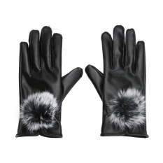 Diskon Besarsarung Tangan Sentuh Kulit Pu Bulu Kelinci Wanita Untuk Sarung Tangan Musim Dingin Hitam Intl
