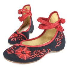 Wanita Retro Gaya Cina Bunga Matahari Flora Kain Bordir Sepatu (Hitam)