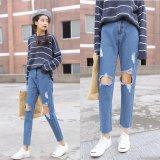 Harga Wanita Ripped Jeans Lutut Lubang Celana Tinggi Pinggang Sembilan Jeans Korea Street Fashion Sembilan Jeans Ramping Lady Celana Intl Paling Murah