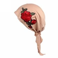 Women Rose Embroidery Cancer Chemo Hat Beanie Scarf Turban Head Wrap Cap BG - intl
