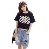 Jual Women Round Collar Pelonggaran Tinggi Pinggang T Shirt Hitam Intltc Oem Murah