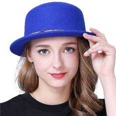 Wanita Round Top Hat Colorful Nylon Stripe Fascinator Fedora Topi (Biru)-Intl