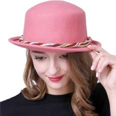Wanita Round Top Hat Colorful Nylon Stripe Fascinator Topi Fedora (Pink)-Intl
