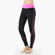 Harga Seperempat Kompresi Wanita Celana Ketat Cewek Olahraga Berlatih Yoga Celana Exerise Elastis Berwarna Merah Muda Arsuxeo Ori