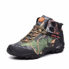 Wanita's Outdoor Athletic Sepatu Kulit Asli Boots Tahan Air Tahan Selip Bantalan Sol Karet Forest Camo Hiking Sepatu Sneakers untuk Perjalanan-Intl