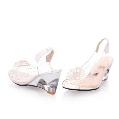 Harga Wanita Sandal Transparan Bunga Wedges Sandal Sepatu Wanita Unisex A S Putih Intl Branded