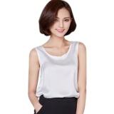 Harga Wanita Satin Without Lengan Round Leher Longgar Blus Tops Putih Yang Murah Dan Bagus