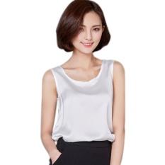 Harga Wanita Satin Without Lengan Round Leher Longgar Blus Tops Putih Oem Tiongkok
