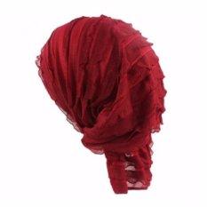 Wanita Scarf Headdress Jilbab Tumpuk Muslim Peap Sifon Topi Dedaunan Kemoterapi Kepala Topi Bonnet (Claret-merah) -Intl