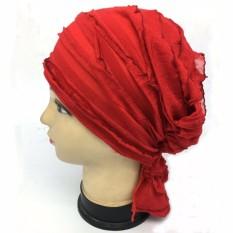 Wanita Syal Hiasan Kepala Jilbab Tumpuk Muslim Peap Sifon Topi Foliagechemotherapy Kepala Bonnet Topi (Merah) Baiguan WT12050-Internasional