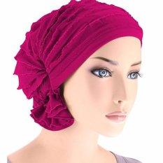 Wanita Scarf Headdress Jilbab Tumpuk Muslim Peap Sifon Topi Dedaunan Kemoterapi Kepala Bonnet Hat (Rose)-Intl