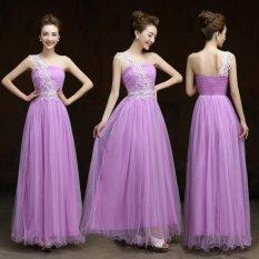 Wanita Gaun Mode Seksi Pernikahan Pengiring Pengantin Pesta Malam Mimpi Violetmaxi Gaun Pas Badan Violet-Intl