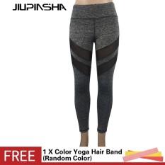Wanita Jala Sambatan Hitam Gimnasium Yoga Celana Dapat Bersirkulasi Elastis Tights Tinggi Pinggang Kebugaran Olahraga Jogging Legging-Internasional