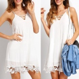 Beli Women S*xy Sleeveless Boho Party Evening Cocktail Summer Beach Short Mini Dress White Intl Murah