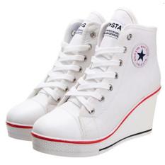 Sepatu Wanita Sepatu Hak Baji Renda Up Her Kets Kanvas 8 Cm (Putih)