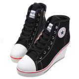 Tips Beli Wanita Wedge Heel Sepatu Renungkan Kanvas Sneakers 8 Cm Hitam Intl