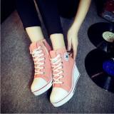 Harga Sepatu Wanita Sepatu Hak Baji Renda Up Her Kets Kanvas 8 Cm Berwarna Merah Muda Terbaru
