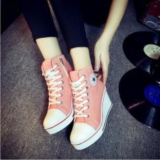 Perbandingan Harga Sepatu Wanita Sepatu Hak Baji Renda Up Her Kets Kanvas 8 Cm Berwarna Merah Muda Di Tiongkok