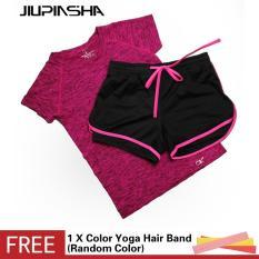 Wanita Lengan Pendek Baju + Celana Pendek Menjalankan Yoga Set Bernapas Cepat Kering Jogging Gym Fitness Suit-Intl