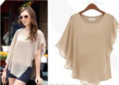 Wanita Lengan Pendek T-shirt Lipatan Kain Sutera Tipis Kemeja-Intl