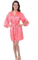Wanita Satin Sutra Short Night Robe Solid Kimono Robe Fashion Bath Robe Sexy Jubah Mandi Peignoir Feminin Pernikahan Bride Bridesmaid Robe (Pink) -Intl