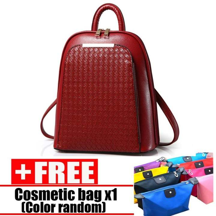Wanita Sederhana PU Ransel College Wind Travel Bag Cabai Merah (Hadiah: 1 Pcs Makeup BAG)-Intl