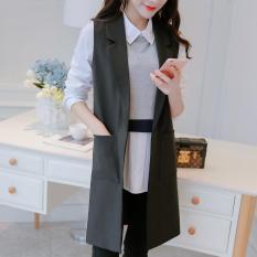 Toko Wanita Tanpa Lengan Blazers Rompi Rompi Lady Kantor Suit Vest Panjang Mantel Jaket Tidak Ada Tombol Untuk Wanita Intl Oem Di Tiongkok