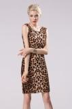 Pusat Jual Beli Wanita Slim Leopard Gaun Mini Tanpa Lengan Backless Gaun Pensil Internasional Tiongkok