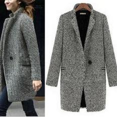 Wanita Musim Dingin Hangat Yang Ramping Wol Panjang Lapel Coat Trench Parka  Jaket Mantel Pakaian Bersepeda 348f63c767