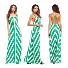 Spesifikasi Wanita Sling Striped Party Green Gaun Maksi Internasional