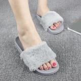 Spesifikasi Sandal Wanita Flock Fashion Musim Semi Musim Panas Musim Gugur Musim Rumah Sandal Plush Wanita Vamp Berbulu Sandal Jepit Flat Sepatu Abu Abu Intl Yg Baik