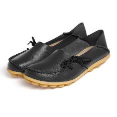 Wanita Kulit Lembut Loafers Flat Sepatu Hamil Ibu Non-slip Sandal Sepatu untuk Nongkrong Outdoor Berjalan Belanja Ukuran 37 Black-Intl