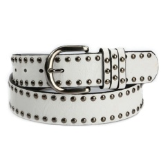 Women Solid Color Punk Studed Faux Leather Buckle Belt - White - intl