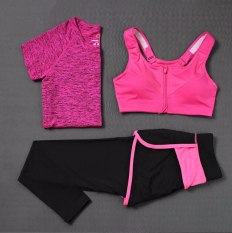 Ulasan Mengenai Wanita Olahraga Kebugaran T Shirt Zipper Bra Celana Tiga Piece Set Ladies Yoga Gym Menjalankan 3 Pcs Mengatur Hot Pink Intl