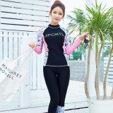 Diskon Wanita Sport Letter Cetak Floral Print Swimsuit Profesional Tabir Surya 2 Pieces Wetsuit 6603 Hitam Intl