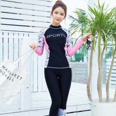 Wanita Sport Letter Cetak Floral Print Swimsuit Profesional Tabir Surya 2 Pieces Wetsuit 6603 (Hitam