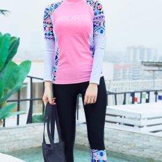 Toko Wanita Sport Letter Cetak Floral Print Swimsuit Profesional Tabir Surya 2 Pieces Wetsuit Pink Intl Terlengkap Tiongkok