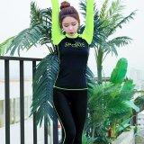 Beli Wanita Sport Letter Print Swimsuit Profesional Tabir Surya 2 Pieces Wetsuit Hijau Intl Di Tiongkok