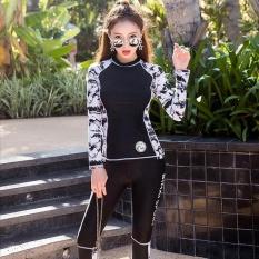 Wanita Sport Tabir Surya Panjang Lengan Patchwork Baju Renang Konservatif Modis 3 Pieces Berselancar Snorkeling Wetsuit-Internasional