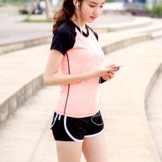 Wanita Olahraga Menjalankan Celana Pendek Hollow Out 2 In 1 Short Pants Yoga Workout Fitness Celana-Intl