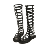 Wanita Strappy Sepatu Bot Setinggi Lutut Terbuka Kaki Budak Zipper Closure Flat Sandal Oem Murah Di Hong Kong Sar Tiongkok