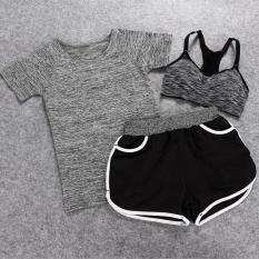 Diskon Wanita Suite Menjalankan Pakaian Yoga Tiga Set Outdoor Keringat Wicking Pakaian Shorts Gray